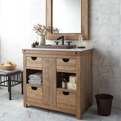 Reclaimed Wood Bath Vanities - Native Trails - Chardonnay Vanity - Made from wine-stained oaking staves - Vintner's Collection #nativetrails