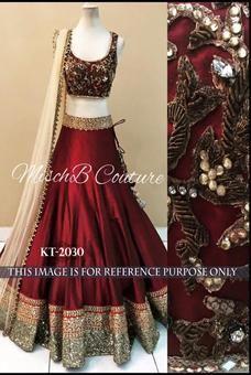 Maroon Banglori Satin Silk Hand Work Designer Lehenga Choli #Lehengacholi #choli #indianwear #ethnicwear #occasionalwear #indian #designer #lehenga #clothes #shopping #discount #weddingattire #partywear #designerwear #silk #maroon