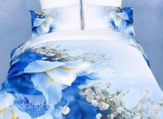 Iris Tectorum and Gypsophila Print 4-Piece Cotton Duvet Cover Sets - beddinginn.com