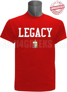 """Red Kappa Alpha Psi embroidered t-shirt with the word """"Legacy"""" above the crest. $49.00"""