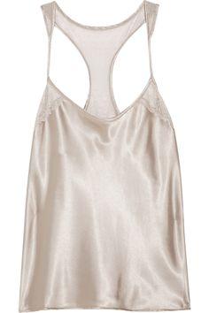 Calvin Klein Underwear|Calvin Klein Black lace-trimmed satin camisole|NET-A-PORTER.COM