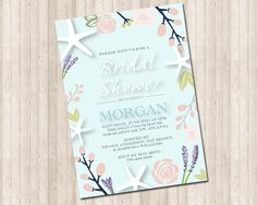 Bridal Shower Floral Starfish Beach Invitation by PureDesignGraphics on Etsy Beach Invitations, Starfish, Bridal Shower, Floral, Prints, Etsy, Shower Party, Flowers, Bridal Showers