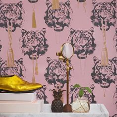 106 - I might have to change everything I own to match this - Coco Tiger wallpaper - pink - Studio Lisa Bengtsson