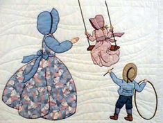 """WENDY  """"Gentlewomen Bonnet Girls Relatives & Friends""""  Evelyn's Swing Pattern $3.50.  (You need Wendy, Tom & Kite to go along with Evelyn to make the entire block.   Variation #1."""
