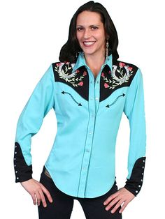 Scully Horseshoe Western Shirt - Turquoise AT COWGIRL BLONDIE'S DUMB BLONDE BOUTIQUE