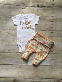 Newborn girls coming home outfit aztec gold by HomemadeHomefront