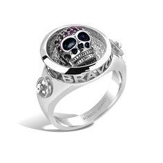 Barbados - Silver Ruby Deep-Set Skull Ring #topazusa #robertobravo #inspiring #jewelry #silver #rings #mens