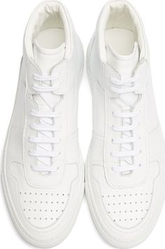 Common Projects White Leather High-Top Basketball Sneakers