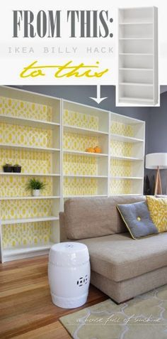 Ikea Billy bookcase hack using paint and a stencil! Click through for the tutorial! | A house full of sunshine