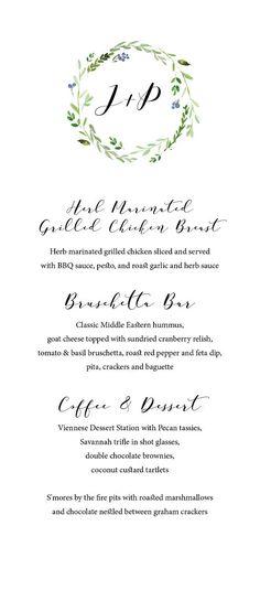 Printable wedding menu Custom Wedding menu Minimal wedding