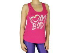 Regatas Femininas | Regata Cavada Longa I Love My Body Pink  Acesse: http://www.spbolsas.com.br/atacado/ #Regatas #Femininas #Atacado