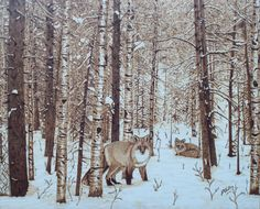 The Sly Ones-red fox pyrography-woodburning on watercolor illustration board 20 by 16 inches