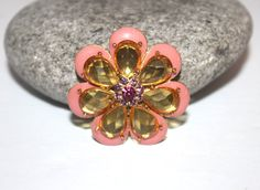 Pink Enamel Flower Brooch Rhinestone Fur by AntiqueAlchemyShop, $12.00