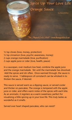 Orange Sauce - Kitchen Witch - Love Spell Work - by DannielleRae - The Magical Circle School www.themagicalcircle.net