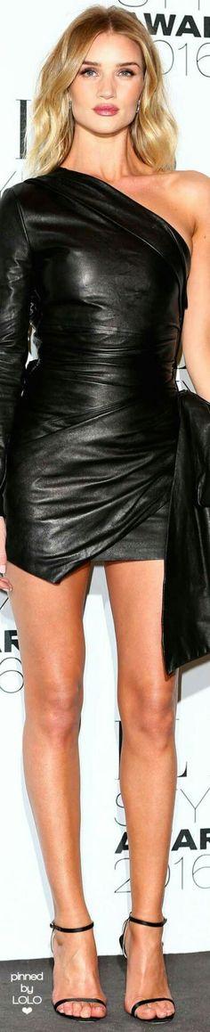 Sexy black leather minidress red carpet