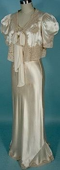 1930s silk and lace nightgown with matching bed jacket, via AntiqueDress.com.
