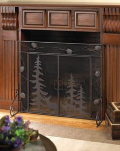 hinged 2 door front forest folding 3 panel WROUGHT IRON cottage hearth portable mesh fire fireplace screen