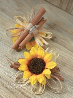 Set of 2 sunflower cinnamon twine rustic boutonnieres for Groom, Groomsmen, father of the bride, father of the groom, friends and guests. A great addition to any sunflower wedding, outdoor weddings, barn weddings, country weddings, summer weddings, fall weddings and for all sunflower