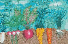 Vegetable Patch Cross Stitch Pattern, Kitchen Decor, Instant Digital Download Counted Cross Stitch Chart, Embroidery Pattern, Needlework