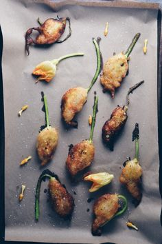 Fried Squash Blossoms Stuffed with Pumpkin Butter Ricotta | My Modern Cookery