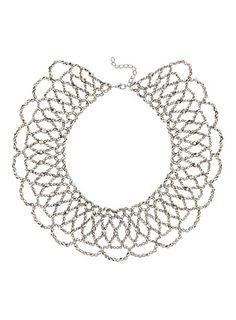 Silver bead cape necklace