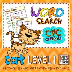LEVEL 1: MINI CVC WORD SEARCH PUZZLES (print 4 on a page); teach decodable CVC word families. A great skills block or centers activity! (Includes full set of B/W printables.)