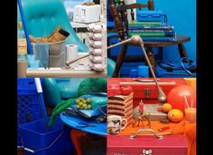 THIS IS ONE PHOTO! Strategic use of color and placement of items makes it appear as 4 frames, but look closely - notice how items overlap and appear in more than one frame. Awesome!