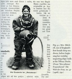 Mrs. Mitchell, one of England's first female deep sea divers.
