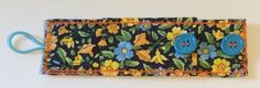 Wildflower Pattern - Quilted Fitness Band - Adjustable length - Pocket - Cotton - Original Design by EileenMakiStudios on Etsy