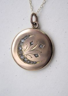 Antique Victorian Crescent Moon and Stars Locket with Crystals.