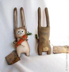 Игрушка Новый год Шитьё Зайчики с морковкой  Ткань фото 1