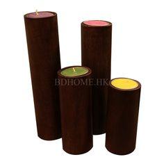 木质摆件 烛台 木 木雕 4个/组