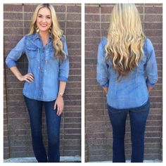 Our Darling in Denim top is a DD staff FAVORITE!   Every gal needs one good denim button up to her name! It has a great wash, and the fit is perfect! Pair this with colored skinnies, palazzo pants, leggings, skirts, pretty much anything you can think of ladies.   It's easy & adorable, for only $39.99!