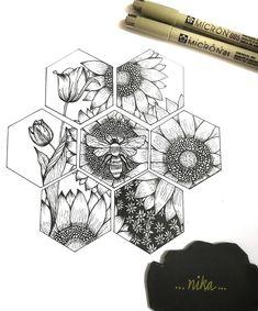 Cool Art Drawings, Pencil Art Drawings, Art Drawings Sketches, Doodle Drawings, Tattoo Drawings, Tattoo Sketches, Bee Drawing, Ink Illustrations, Grafik Design
