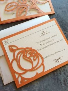 Laser Cut Wedding Invitations Monogram Rose by CelineDesigns