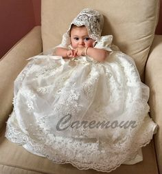 Christening gown set Baptism Gown Handcrafted Heirloom gown set-  If you desire the best for your dear one, then look no further. You have come to the right place and we are glad that you have done your research well. Please do checkout our customer feedback reviews.   GOWN DESCRIPTION:  - Milky White Christening Gown - Beaded Alencon lace overlay and fine satin underlay - Simple Puff sleeves - Full Cotton Lining - Dress length: 28 inches - Satin Ribbon Bow at the waist - Comes with matching…