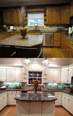 Normally I like wooden cabinets...but the white cabinets make this kitchen so much brighter and happier! ♥