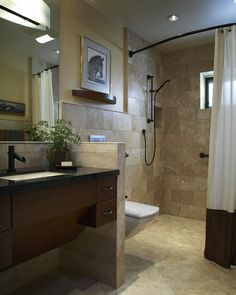 : Astonishing Bathroom Design With Wooden Floating Vanity Also White Fabric Shower Curtains Also Granite Tile Floor