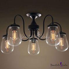 26'' Wide Industrial 5 Light Semi-Flushmount Ceiling Light