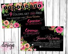 Lipsense Business Cards with Stamp Card Lipsense by Senegence, loyalty punch card promotion, buy 9 colors / lipsticks, get one free, black floral modern marketing and branding,