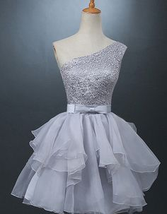 Short dress,Glamorous prom dress,One Shoulder Homecoming Dress