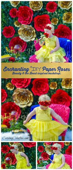 Enchanting DIY giant paper roses. Inspiring Beauty and the Beast backdrop. Party decor ideas. Paper rose templates.
