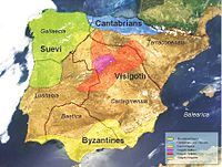 Map - Suebic Kingdom of Galicia 1st independent barbarian Christian kingdom of Western Europe and first to separate from Roman empire (Approx 406 AD)