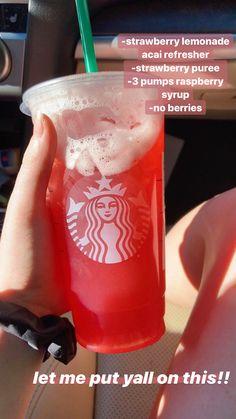 Cold Starbucks Drinks, Bebidas Do Starbucks, Healthy Starbucks, Smoothie Drinks, Smoothie Recipes, Smoothies, Copo Starbucks, Starbucks Secret Menu Drinks, How To Order Starbucks