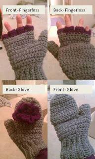 CROCHETED MITTENS / FINGERLESS GLOVES (Women's) with mitten tops