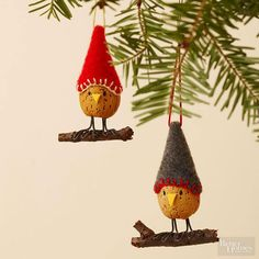 This adorable bird ornaments -- cleverly disguised almonds with felt caps -- add a natural touch to your Christmas tree. /