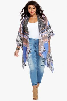 Plus Size Wanderlust Scarf Print Kimono | Fashion To Figure