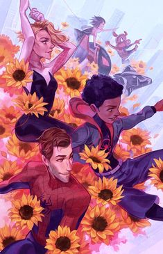 "Munette 🌺 Komiket~ on Twitter: ""Into the sunflower field #SpiderVerse… "" Spiderman Spider, Spider Gwen, Marvel Art, Marvel Avengers, Avengers Superheroes, Fanart, Miles Morales Spiderman, Spider Verse, Gi Joe"