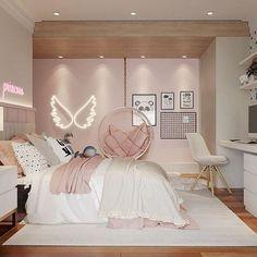 Cute Bedroom Decor, Room Design Bedroom, Bedroom Decor For Teen Girls, Girl Bedroom Designs, Stylish Bedroom, Small Room Bedroom, Luxury Kids Bedroom, Small Girls Bedrooms, Bedroom Ideas