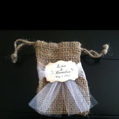 Burlap and tulle wedding favor bags for our wedding!